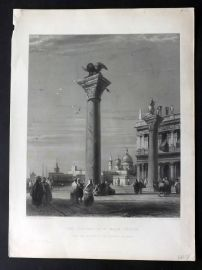 After Bonington C1860 Art Journal Print. Columns of St. Marks, Venice Italy